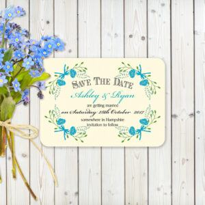 Floral Fantasy Blue on Ivory - Save the Date cards
