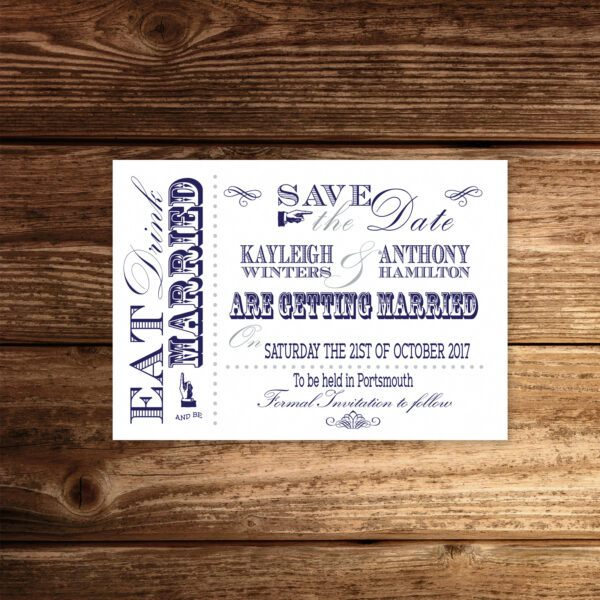Vintage Fayre Blue on White Card - Save the Date Cards