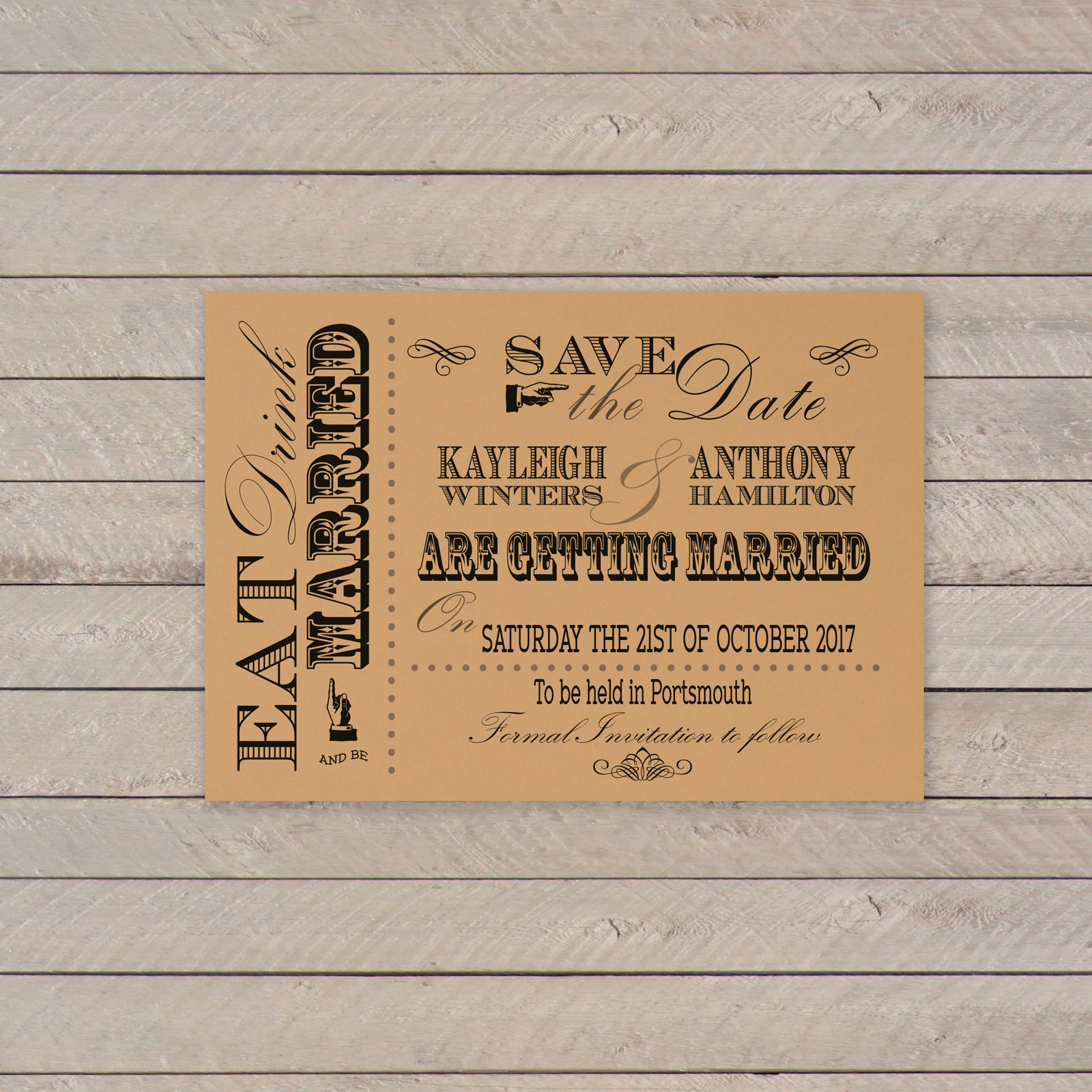 Vintage Fayre Black on Buff Card - Save the Date Cards