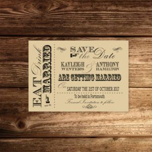 Vintage Fayre on Ivory Card - Save the Date Cards