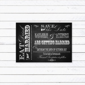 Vintage Fayre on Chalkboard - Save the Date Cards