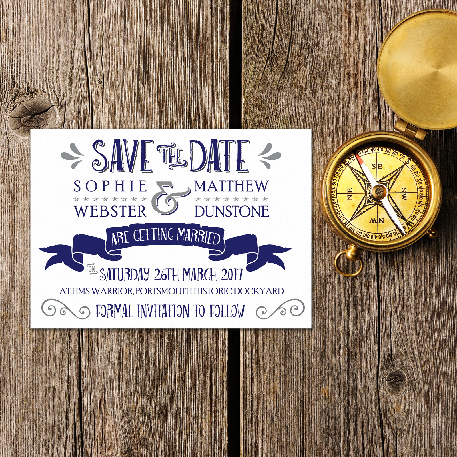 Nautical Blue & Silver on White Card - Save the Date Cards
