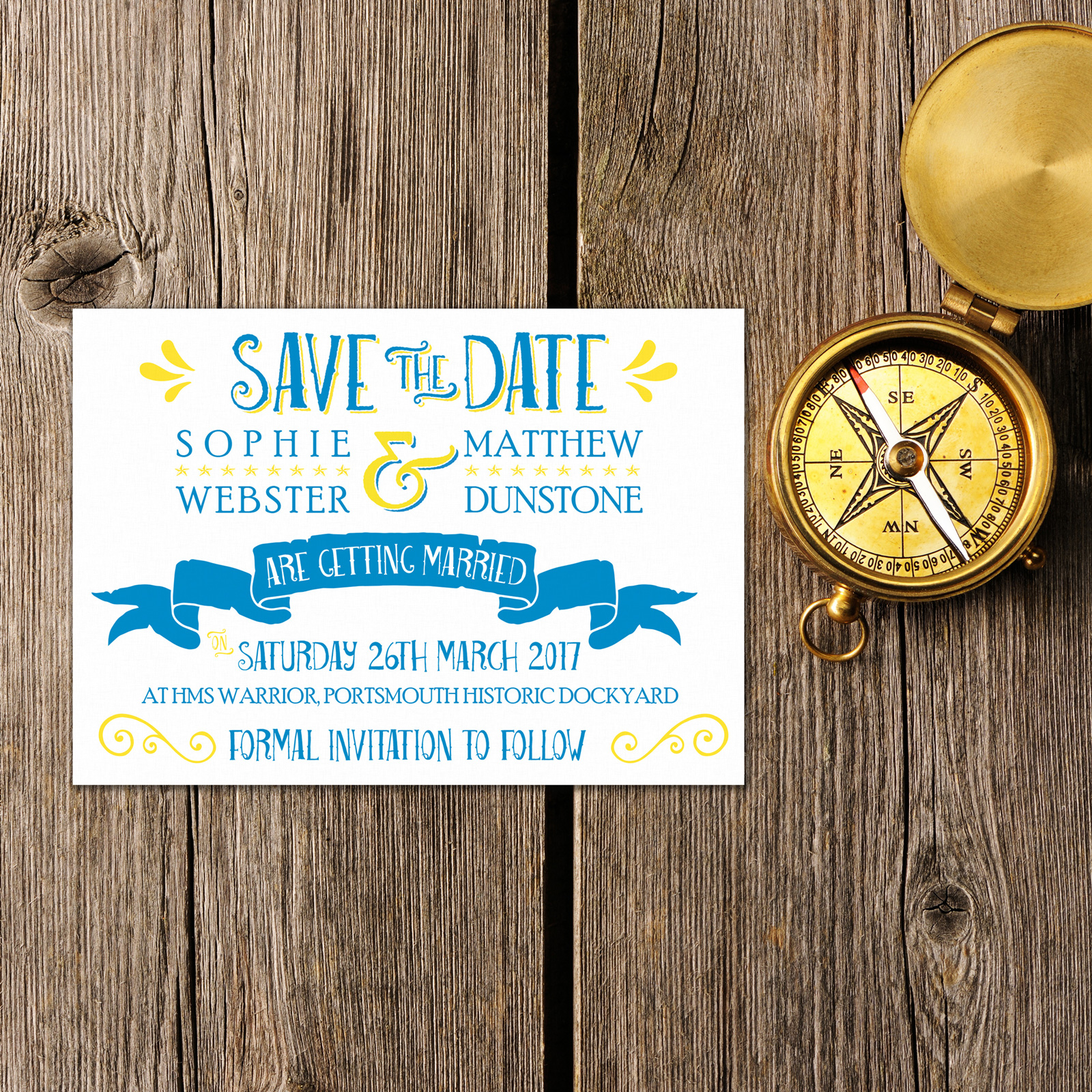 Nautical Blue & Yellow on White Card - Save the Date Cards