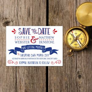 Nautical Blue & Red on White Card - Save the Date Cards