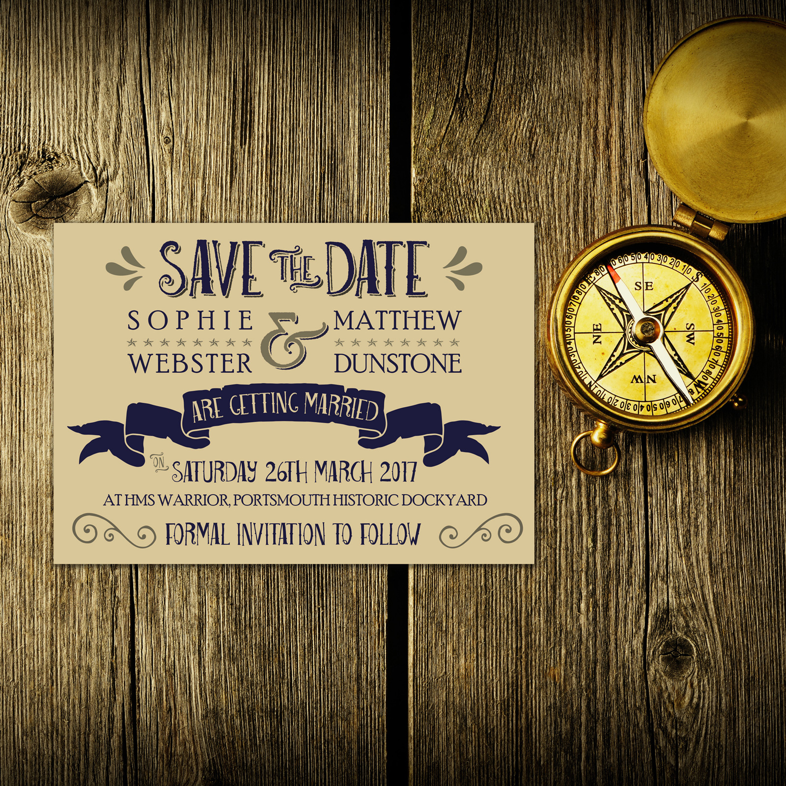 Nautical Blue & Silver on Ivory Card - Save the Date Cards