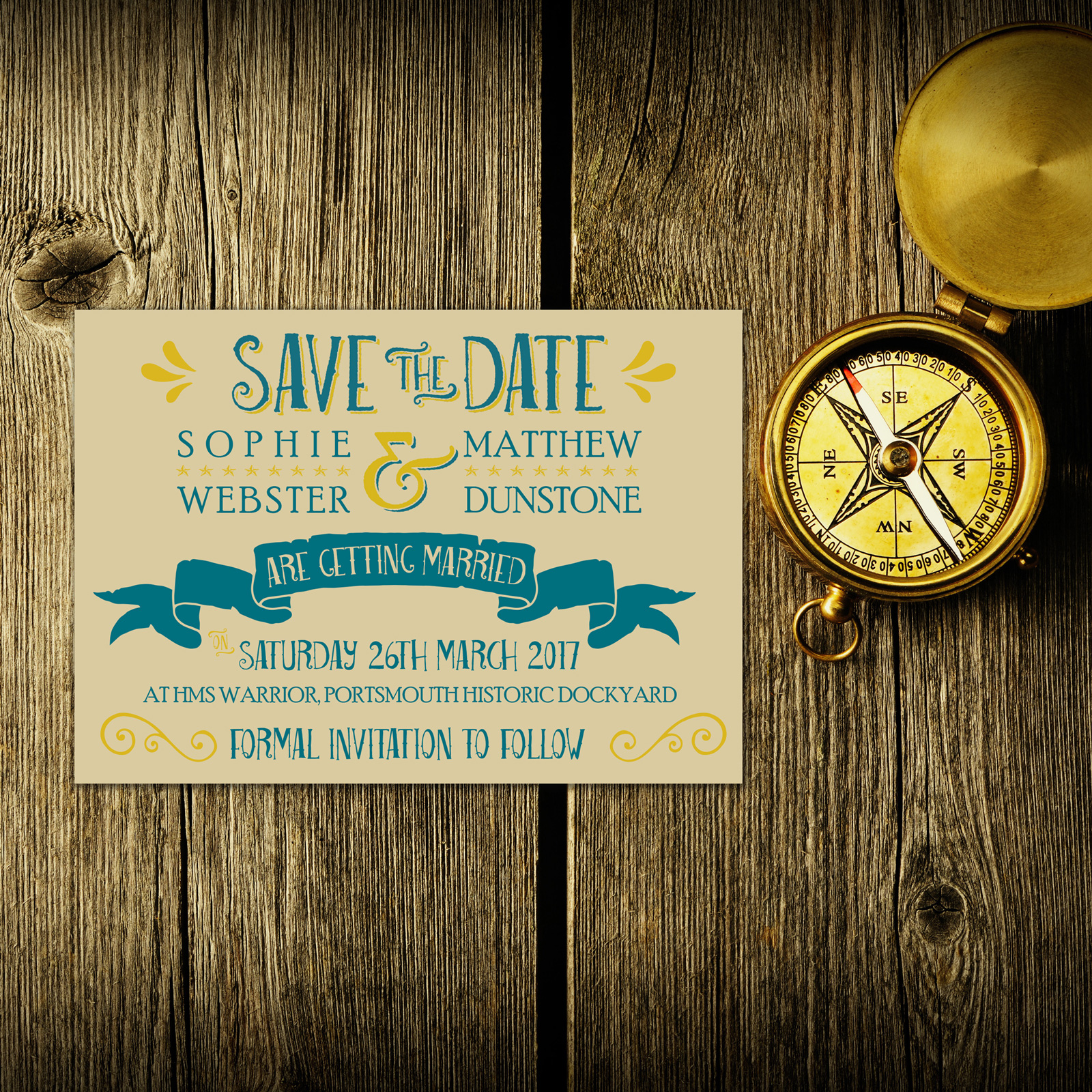 Nautical Blue & Yellow on Ivory Card - Save the Date Cards