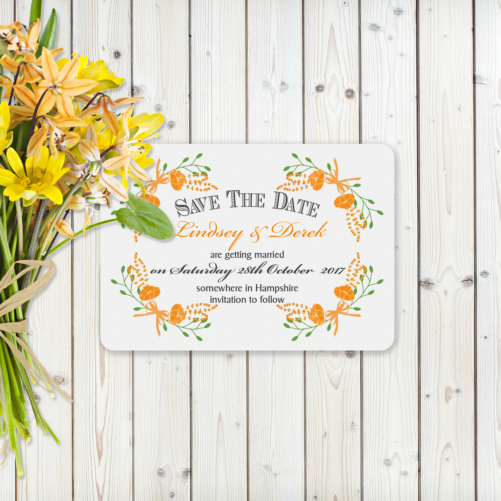 Floral Fantasy Orange on White Card - Save the Date Cards