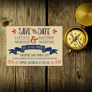 Nautical Blue & Red on Ivory Card - Save the Date Cards