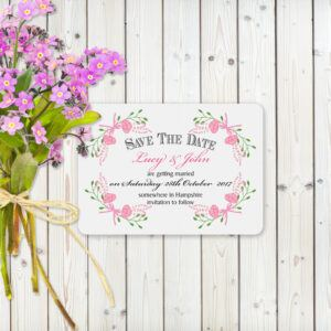Floral Fantasy Pink on White Card - Save the Date Cards