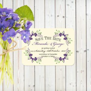 Floral Fantasy Purple on Ivory Card - Save the Date Cards