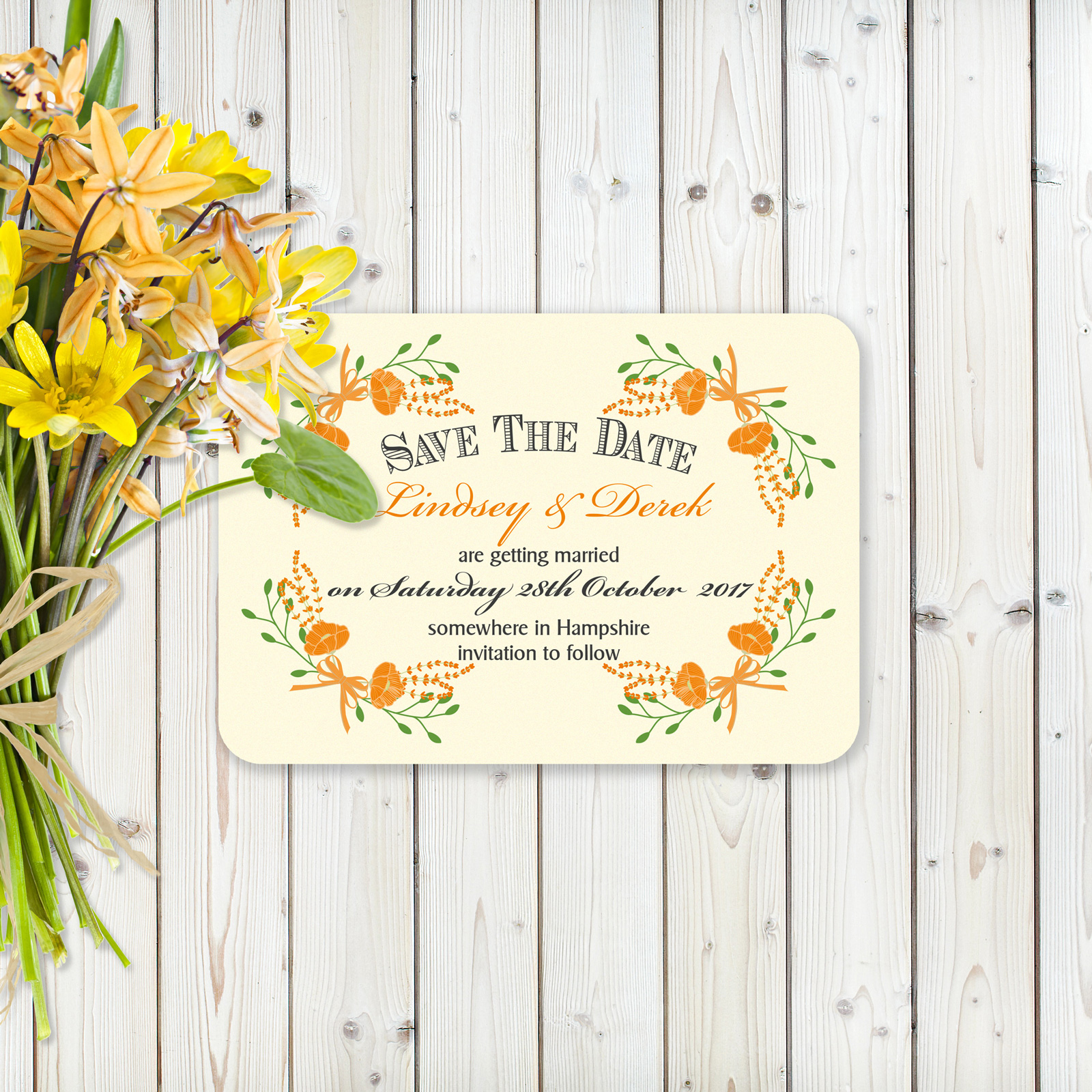 Floral Fantasy Orange on Ivory Card - Save the Date Cards