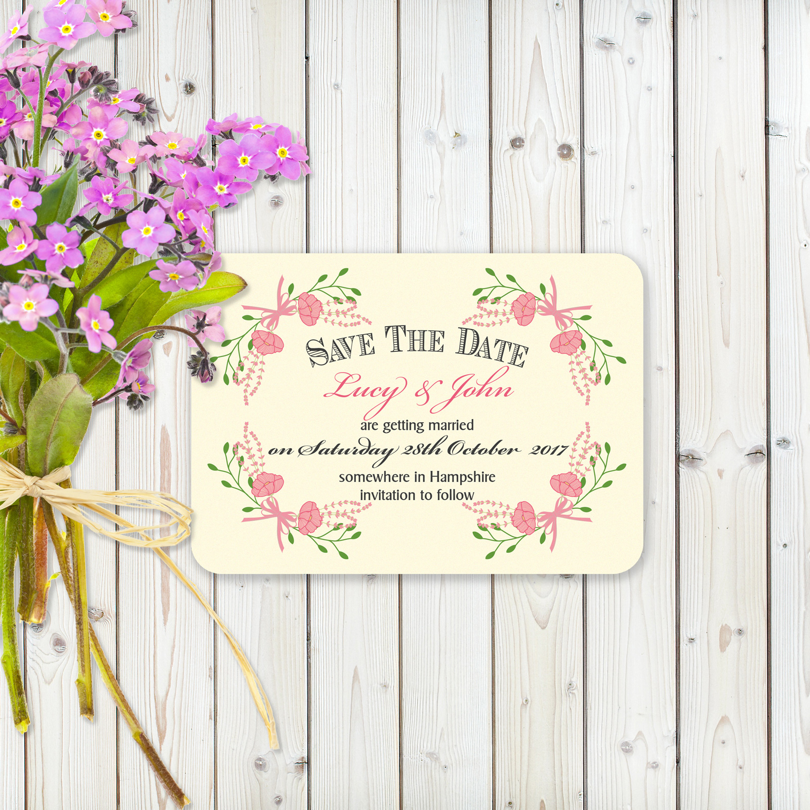 Floral Fantasy Pink on Ivory Card - Save the Date Cards