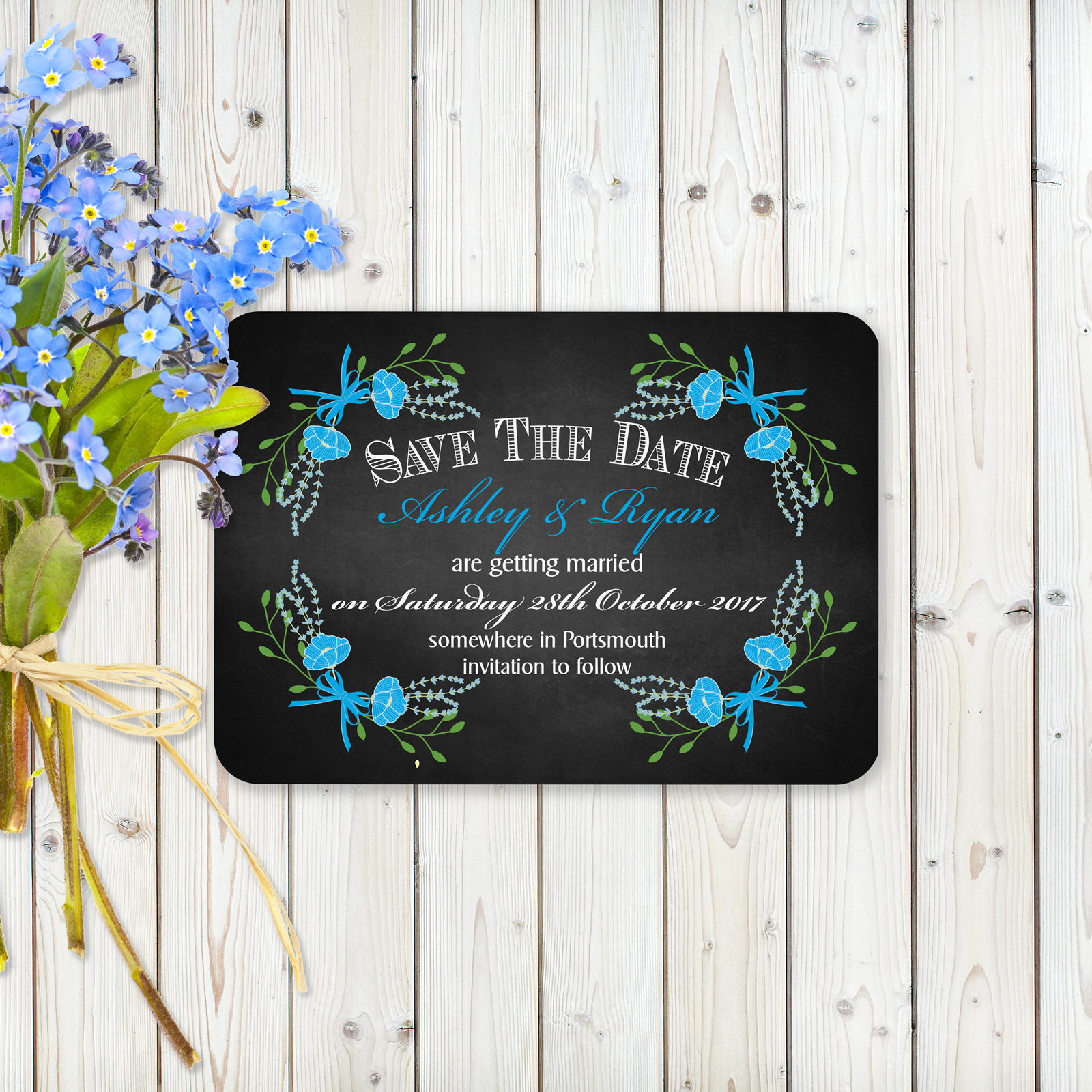 Floral Fantasy Blue on Chalkboard - Save the Date Cards