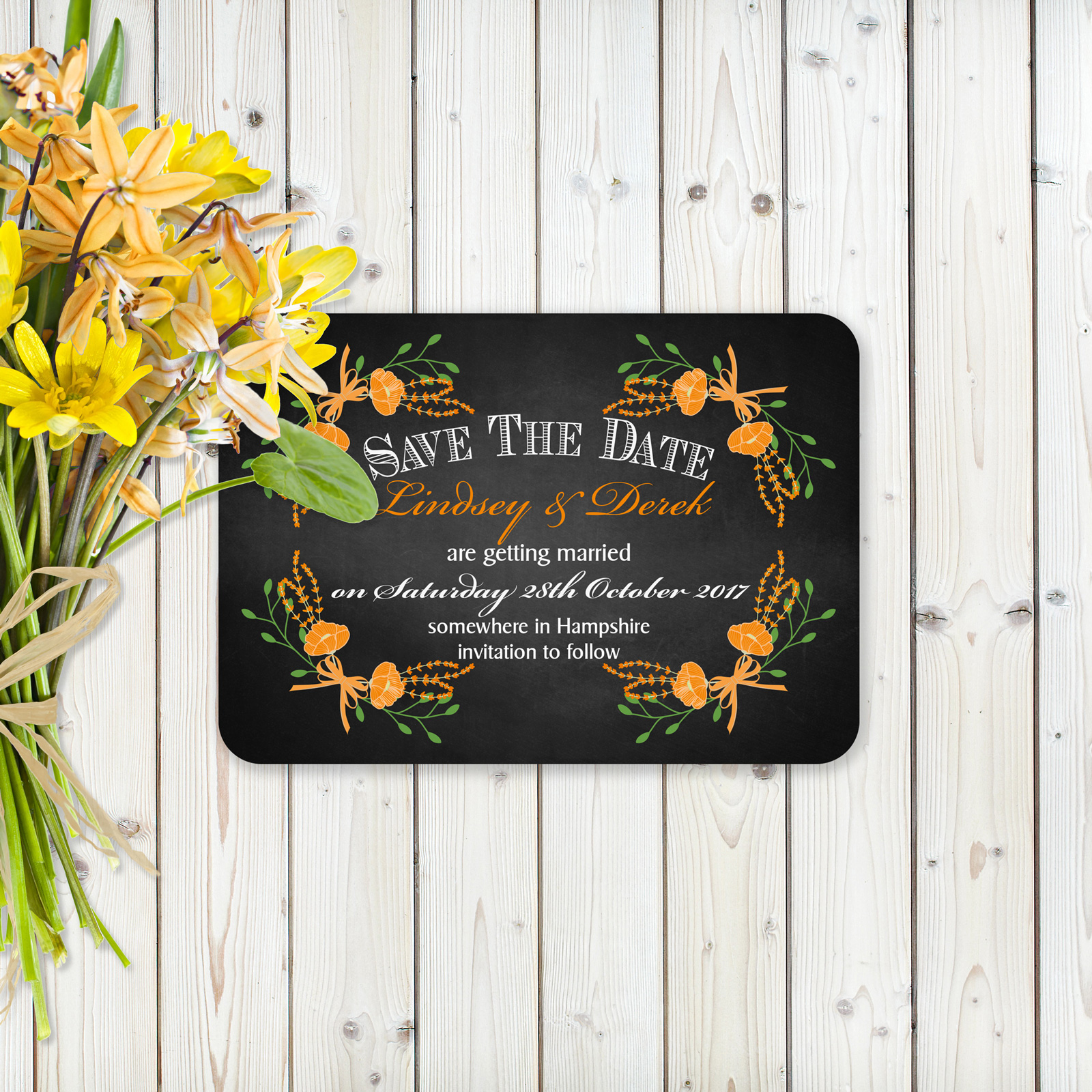 Floral Fantasy Orange on Chalkboard - Save the Date Cards
