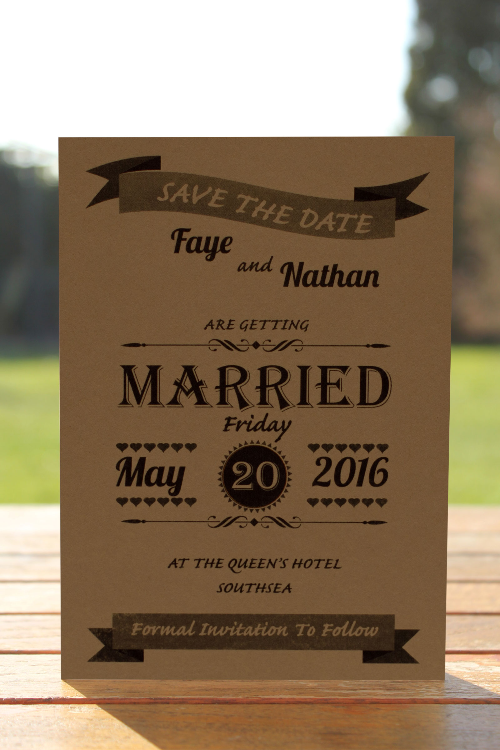 Wedding Fete on Buff Card - Save the Date Card