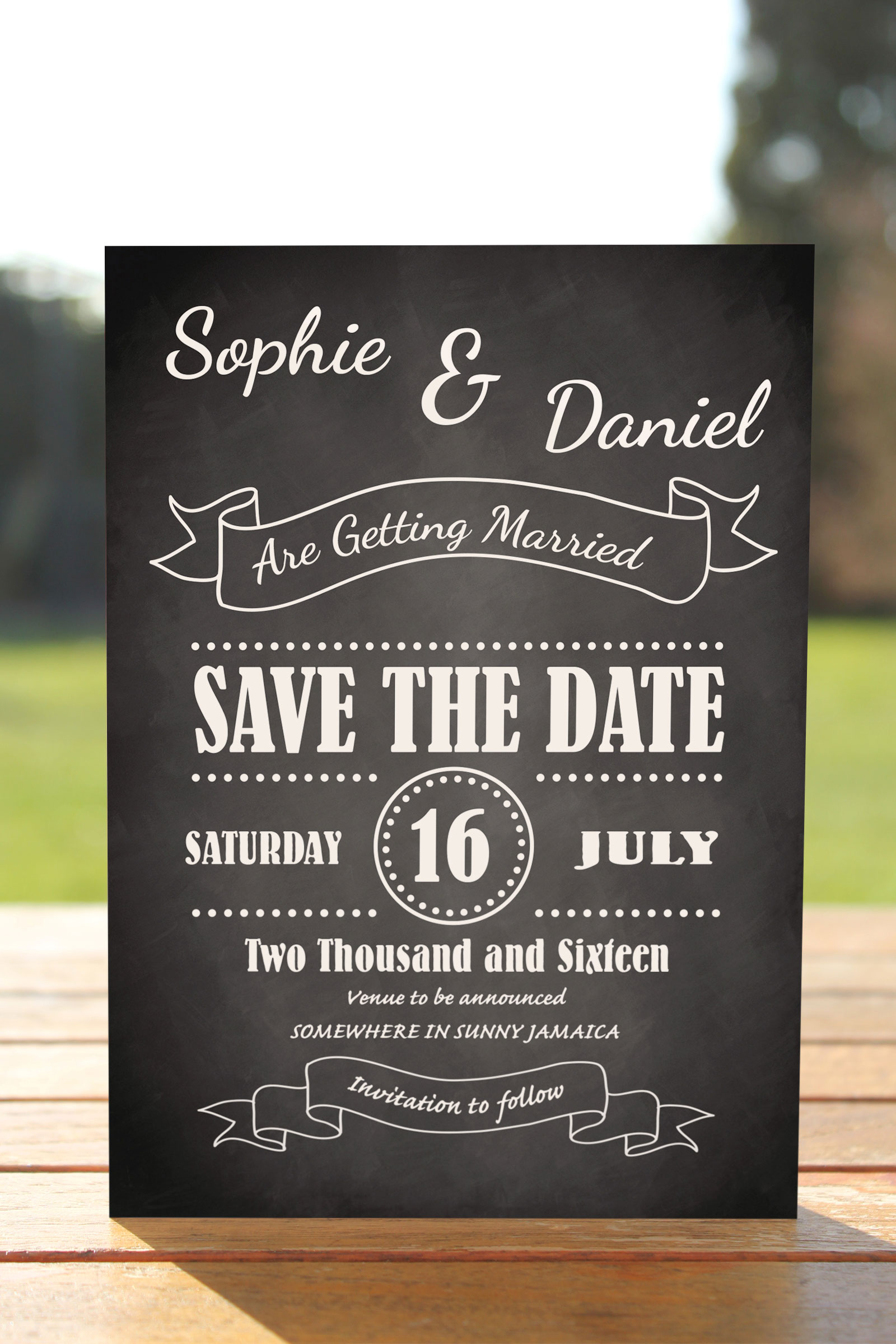 Wedding Fete on Chalkboard - Save the Date Card