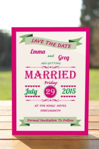 Wedding Fete Fuchsia Pink & Green - Save the Date Card