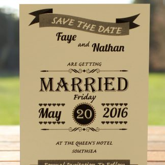Wedding Fete on Ivory Card - Save the Date Card