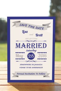 Wedding Fete Navy Blue & Silver - Save the Date Card