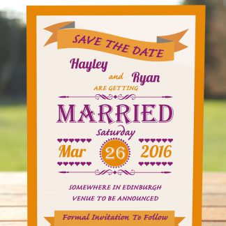 Wedding Fete Burnt Orange & Purple - Save the Date Card