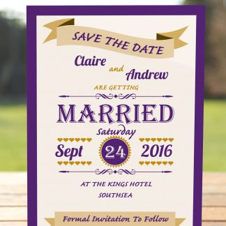 Wedding Fete Cadbury Purple & Gold - Save the Date Card