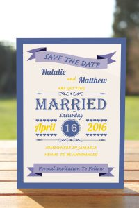 Wedding Fete Royal Blue & Yellow - Save the Date Card