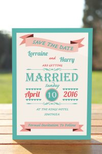Wedding Fete Turquoise & Coral - Save the Date Card