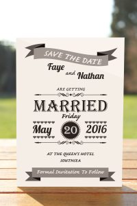 Wedding Fete on White Card - Save the Date Card