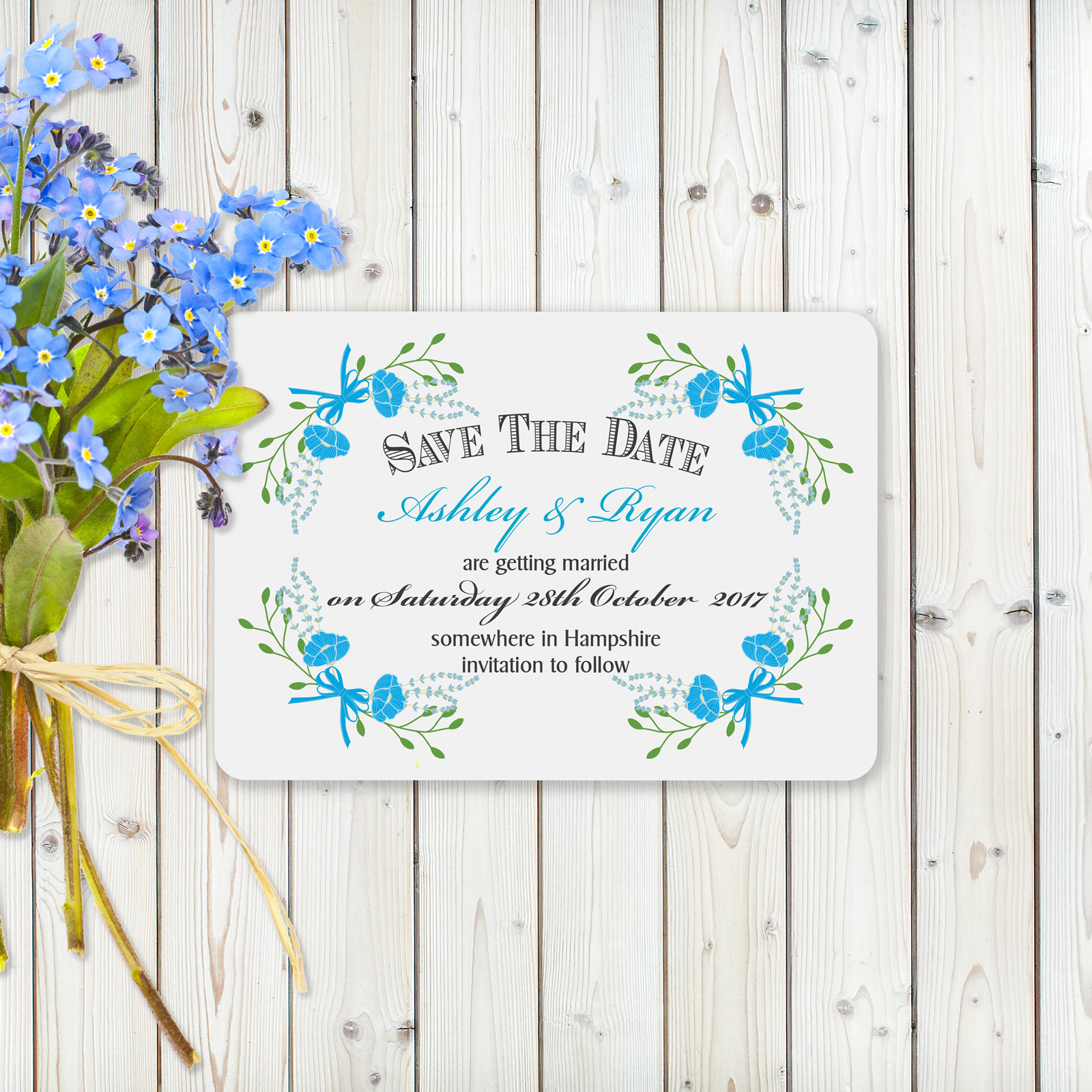 Fantasy Floral Blue on White Card - Save the Dates