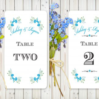 Floral Fantasy Blue on White Card - Table Names