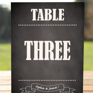 Wedding Fete on Chalkboard - Table Name Card