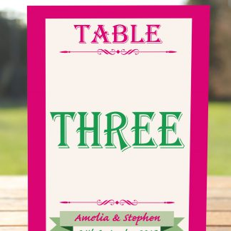 Wedding Fete Fuchsia Pink & Green - Table Name Card