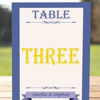 Wedding Fete Royal Blue & Yellow - Table Name Card