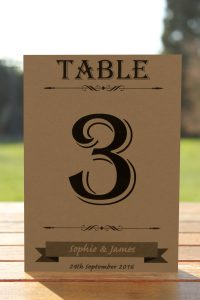 Wedding Fete on Buff Card - Table Name Cards