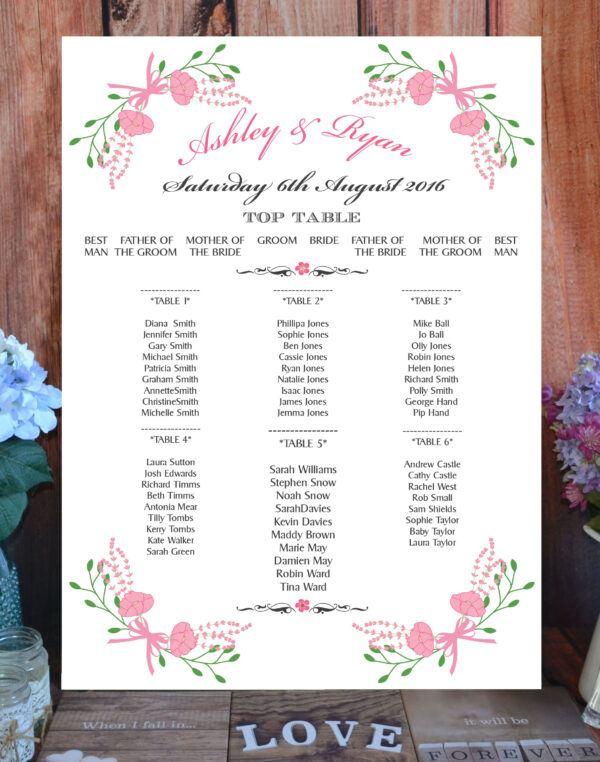 Fantasy Floral Pink on White - Table or Seating Plan