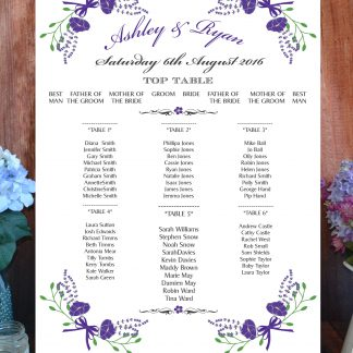 Fantasy Floral Purple on White - Table or Seating Plan