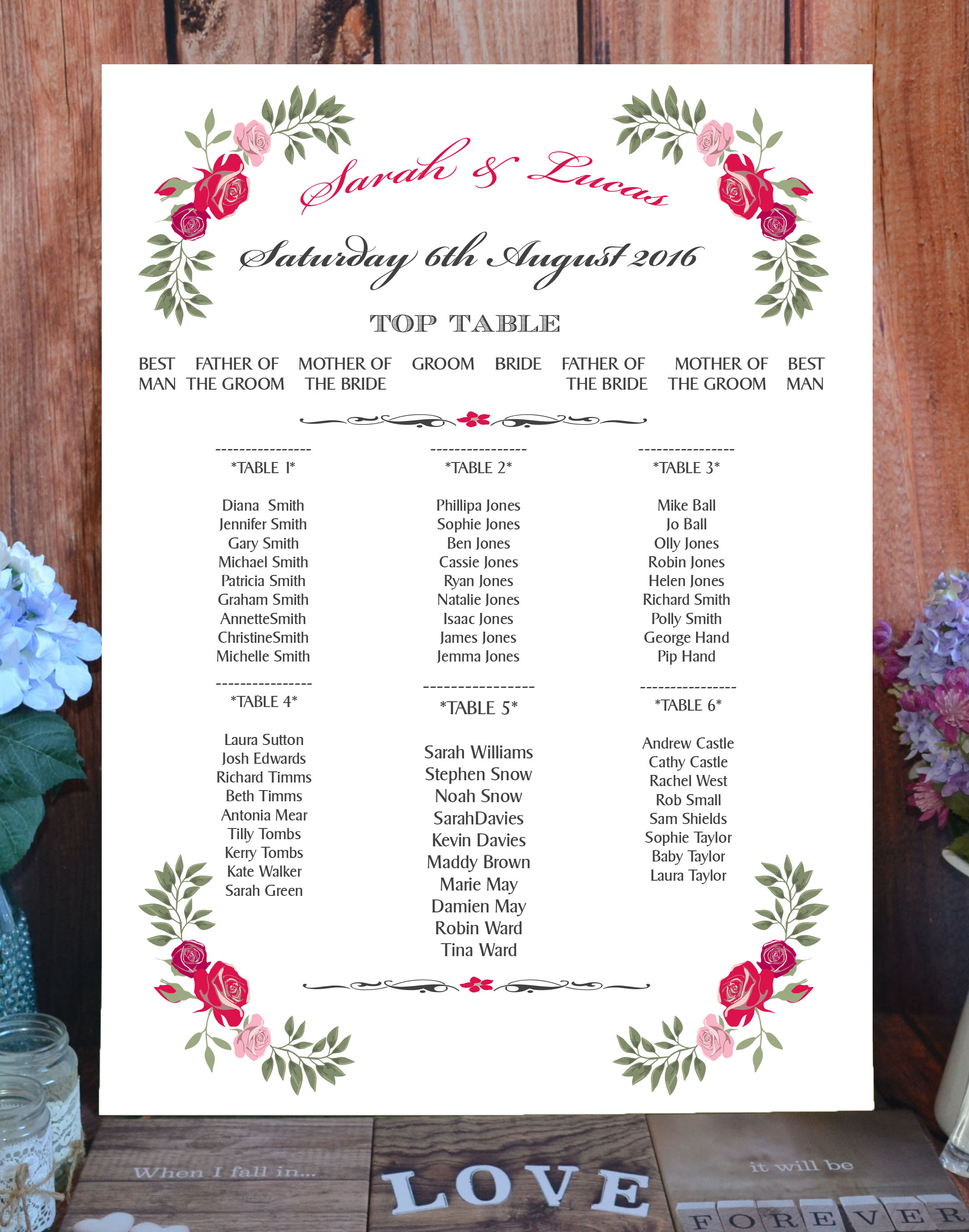Fantasy Floral Rose on White - Table or Seating Plan