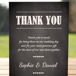 Wedding Fete on Chalkboard - Thank You Card