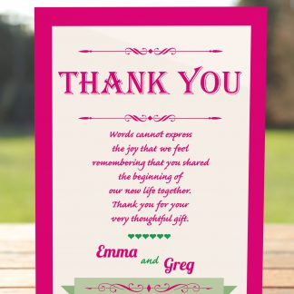 Wedding Fete Fuchsia Pink & Green - Thank You Card