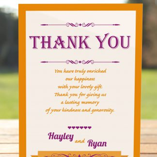 Wedding Fete Burnt Orange & Purple - Thank You Card