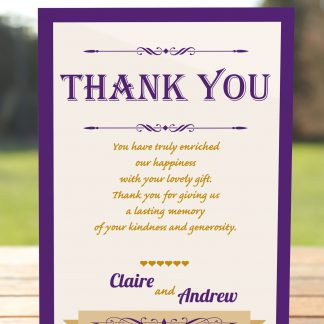 Wedding Fete Cadbury Purple & Gold - Thank You Card