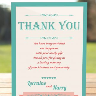 Wedding Fete Turquoise & Coral - Thank You Card