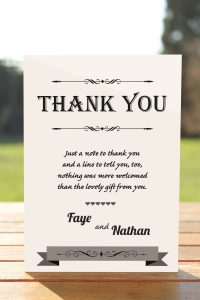 Wedding Fete on White Card - Thank You Card
