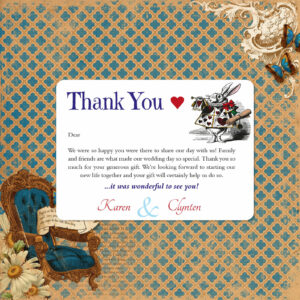 Vintage Alice on White Card - Thank You Cards