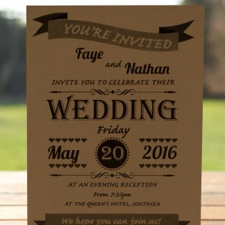 Wedding Fete on Buff Card - Evening Invitation