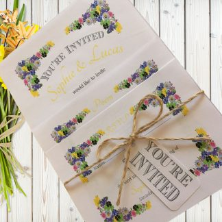 Flower Garden Yellow on White Card - 3 Card Set