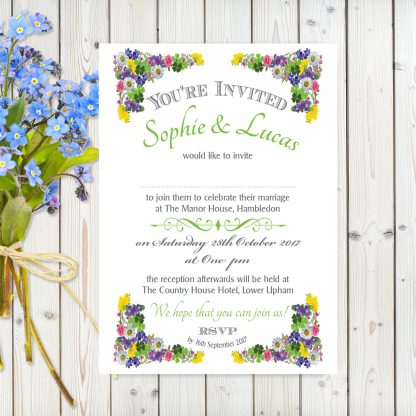 Flower Garden Green on White Card - A5 Invitation