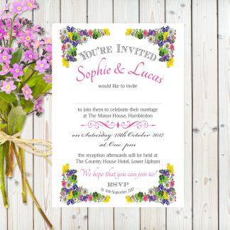 Flower Garden Pink on White Card - A5 Invitation