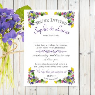 Flower Garden Purple on White Card - A5 Invitation