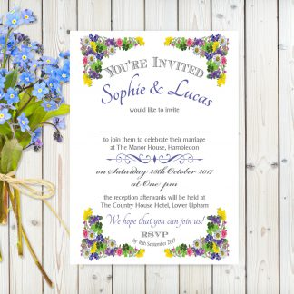 Flower Garden Blue on White Card - A5 Invitation